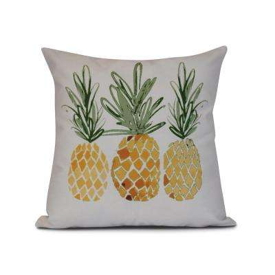 16 in. 3 Pineapples Pillow in Gold