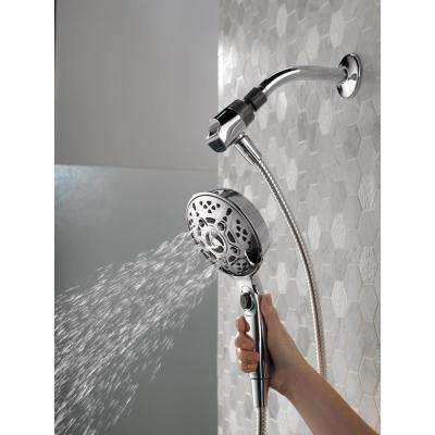 SureDock 7-Spray 5 in. Single Wall Mount Handheld H2Okinetic Shower Head in Chrome