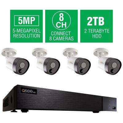 8-Channel 5MP 2TB DVR Surveillance System with (4) 5MP Bullet Cams