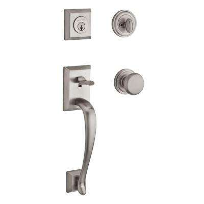 Reserve Napa Single Cylinder Satin Nickel Handleset with Round Knob and Traditional Round Rose
