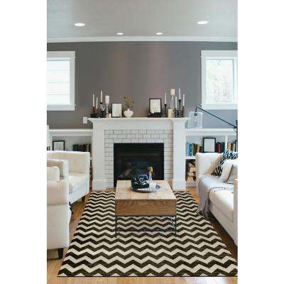 Washable Chevron Black and White 5 ft. x 7 ft. Stain Resistant Area Rug