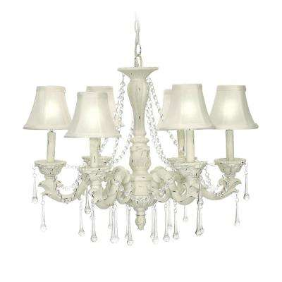 6-Light White Blanche Boudoir Chandelier