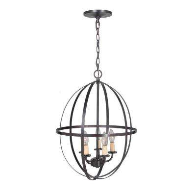 Hardwired Pendant Series 4-Lights Brushed Bronze Mini Chandelier with Circular Cage Shade