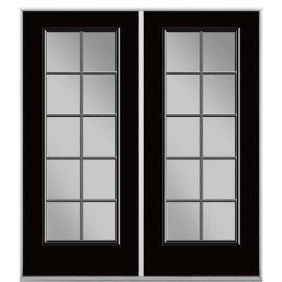 Prehung 10 Lite Steel Patio Door with No Brickmold