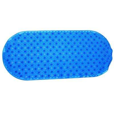 15 in. x 35 in. Bubble Bath Mat with Microban in Blue