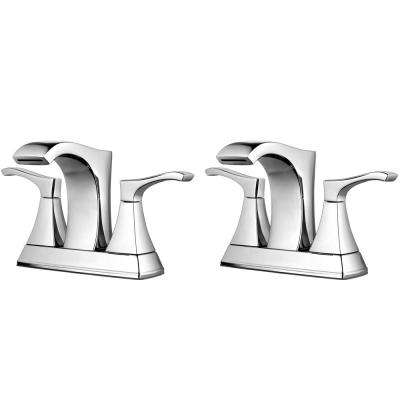 Venturi 4 in. Centerset 2-Handle Bathroom Faucet in Polished Chrome (2-Pack Combo)