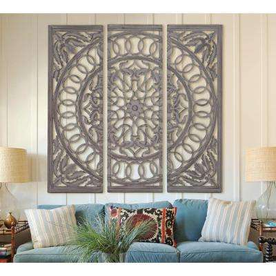 Scrolled 48 in. x 48 in. Wood and Mirrored Wall Panel