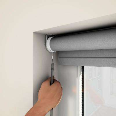 Cut-to-Size Bright White Cordless Blackout Fabric Motorized Roller Shade 35 in. W x 72 in. L