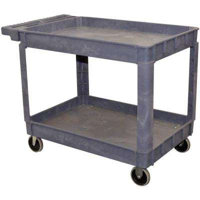 2-Shelf Plastic Service Cart in Gray