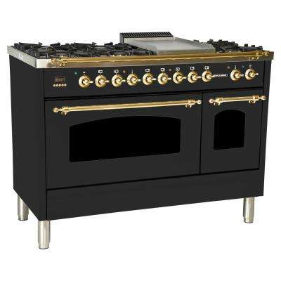 48 in. 5.0 cu. ft. Double Oven Dual Fuel Italian Range True Convection, 7 Burners,Griddle,Brass Trim in Matte Graphite