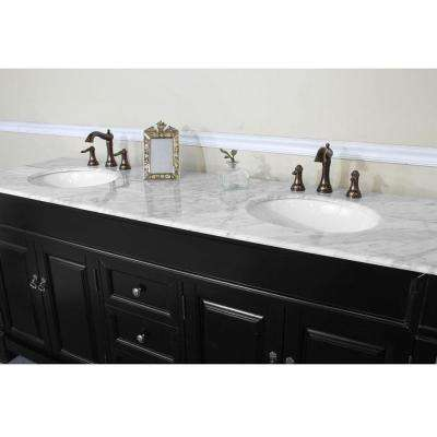 Bradbury 72 in. W x 22.5 in. D x 35.5 in. H Double Vanity in Espresso with Marble Vanity Top in White with White Basins