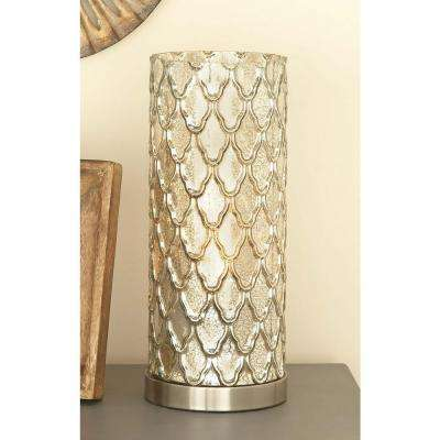 6 in. x 15 in. Touch Of Glass Lattice Patterned Glass and Metal Uplight