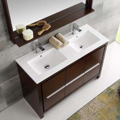Allier 48 in. W Vanity in Wenge Brown with Ceramic Vanity Top in White with Double White Basin and Mirror