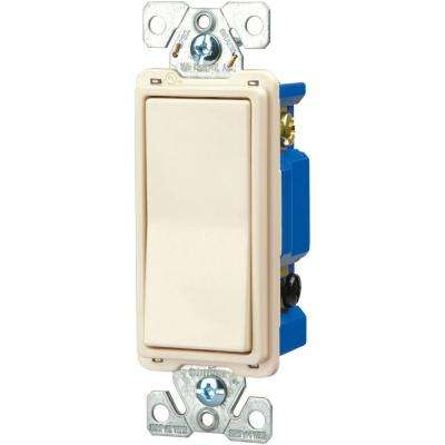 15 Amp 120/277-Volt Standard Grade 4-Way Decorator Rocker Switch with Back, Push Wire, Light Almond