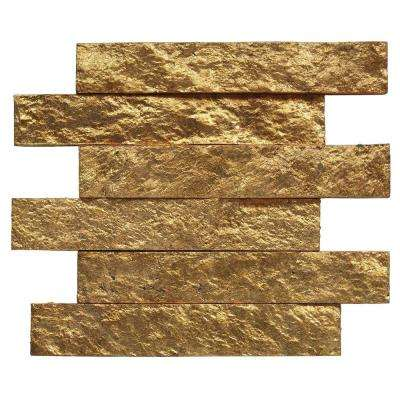Bedeck Classic Gold 2 in. x 12 in. x 8 mm Stone Subway Wall Tile