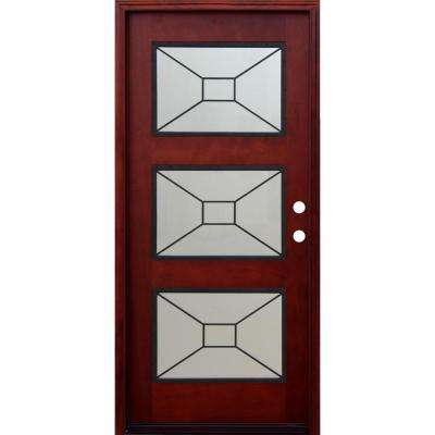 Contemporary 3 Lite Mistlite Stained Mahogany Wood Prehung Front Door with Grille and 6 in. Wall Series