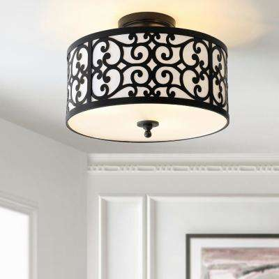 Katherine 15 in. Oil Rubbed Bronze Metal LED Semi-Flush Mount