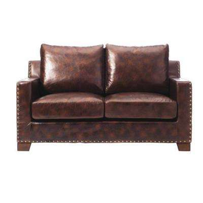 Garrison Brown Bonded Leather Loveseat
