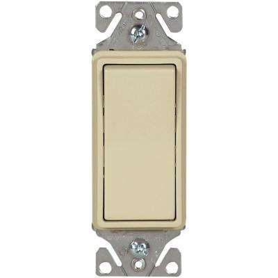 15 Amp 120/277-Volt Heavy-Duty Grade Single-Pole Decorator Lighted Rocker Switch with Back and Push Wire, Ivory