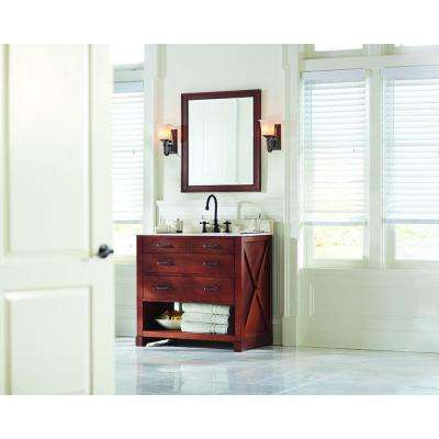 Brexley 37 in. Vanity in Warm Chestnut with Marble Vanity Top in Beige