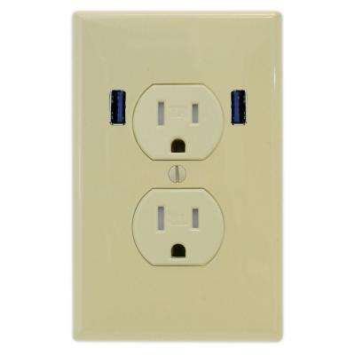 15 Amp Standard Duplex Tamper Resistant Wall Outlet with 2 Built-in USB Charging Ports - Ivory