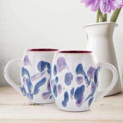 20.2 oz. Purple and White Stoneware Mug (Set of 4)
