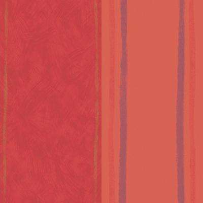56 sq. ft. Red Large Graphic Stripe Wallpaper