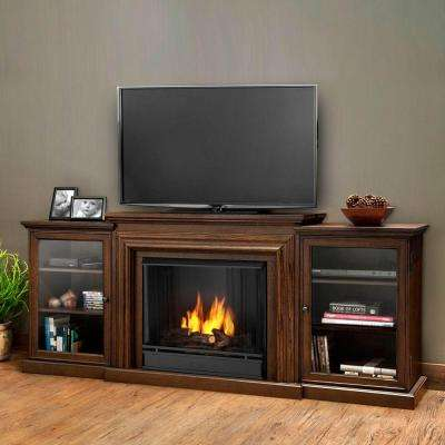 Frederick Entertainment 72 in. Media Console Ventless Gel Fuel Fireplace in Chestnut Oak