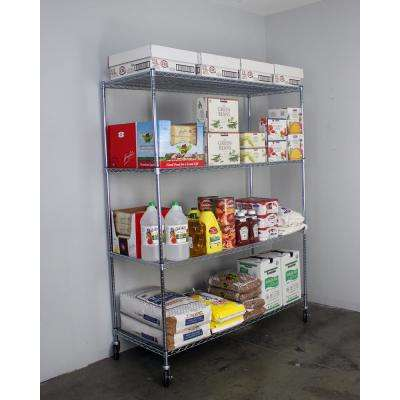 72 in. H x 60 in. W x 24 in. D NSF 4-Tier Wire Chrome Shelving Rack with Wheels