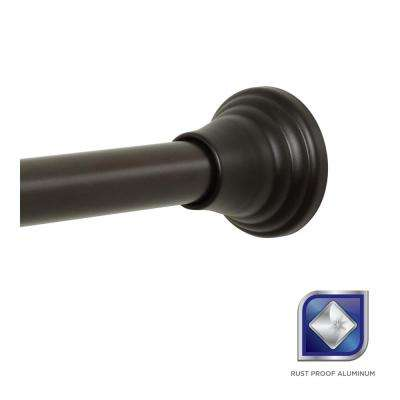 Rustproof Decorative Finial 46 in. - 72 in. Aluminum Adjustable Tension No-Tools Shower Rod in Bronze