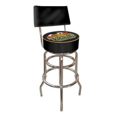 Texas Holdem 30 in. Chrome Swivel Cushioned Bar Stool