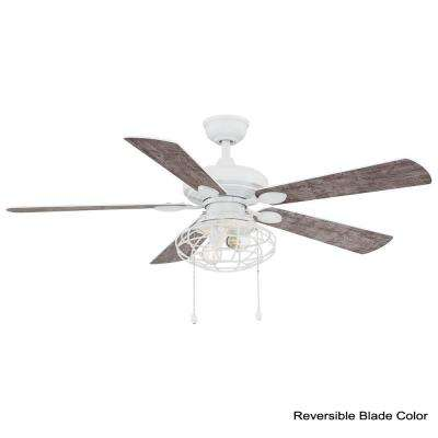 Ellard 52 in. LED Matte White Ceiling Fan with Light Kit