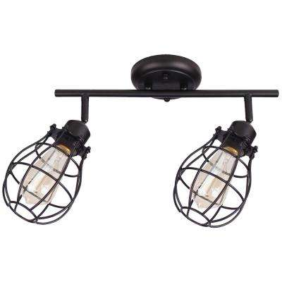 Lancy 2-Lights Matte Black Track Light with Cage Shade