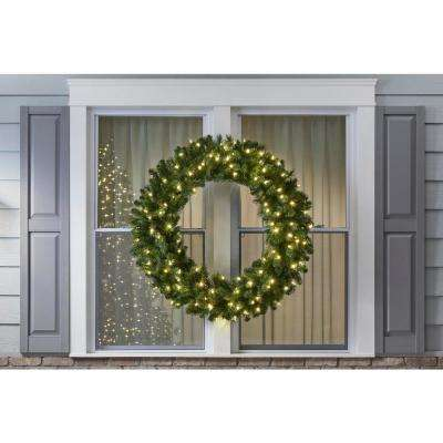 48 in. Wesley Pre-Lit LED Long Needle Pine Artificial Christmas Wreath with 366 Tips and 120 Warm White Lights
