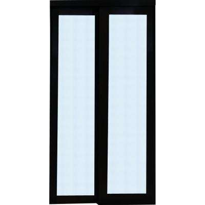 2230 Series Composite Espresso 1-Lite Tempered Frosted Glass Sliding Door