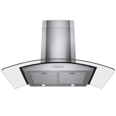 36 in. Convertible Wall Mount Range Hood in Stainless Steel with Tempered Glass