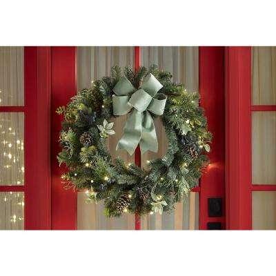 32 in. Pre-Lit LED Sugarplum Knoll Artificial Christmas Wreath