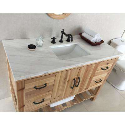 Villa 48 in. W x 22 in. D x 36 in. H Single Vanity in Natural with Marble Vanity Top in Jazz White with White Basin