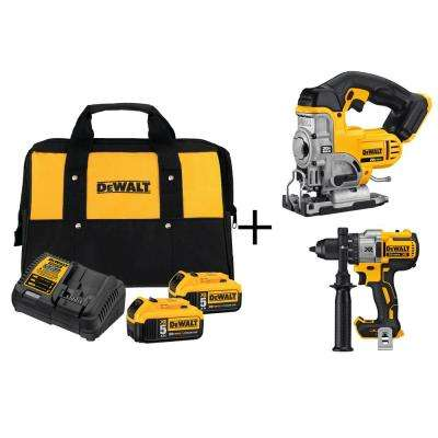 20-Volt MAX Lithium-Ion 5.0Ah Starter Kit with Bonus Premium Brushless Drill and Jig Saw