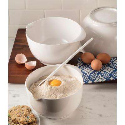 2, 3 and 4 l Melamine Mixing Bowl Set in White (Set of 3)