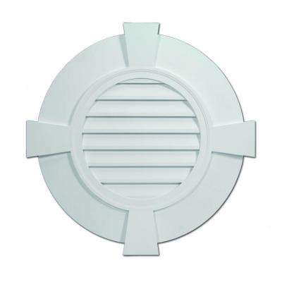 32-27/32 in. x 32-27/32 in. x 2-13/51 in. Polyurethane Decorative Round Louver with Flat Trim and Flat Keystones