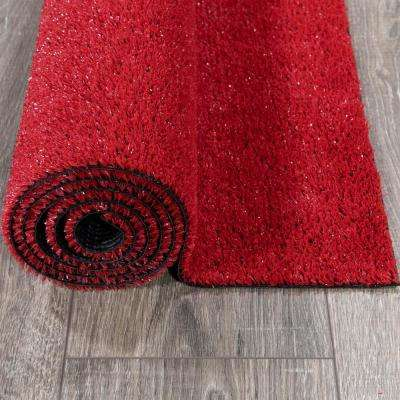 Evergreen Collection 2 ft. 7 in. x 8 ft. Red Artificial Grass Synthetic Lawn Turf Indoor/Outdoor Runner Rug