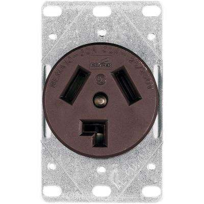 Commercial and Industrial 30 Amp Flush Mount Dryer Power Receptacle with 3-Wire Non-Grounding, Brown