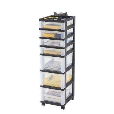 108 Qt. 7-Drawer Storage Bin in Black
