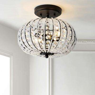 Catalina 11.7 in. Oil Rubbed Bronze/Crystal Metal /Acrylic LED Semi-Flush Mount