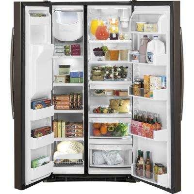 Adora 36 in. W 25.4 cu. ft. Side by Side Refrigerator in Slate, Fingerprint Resistant