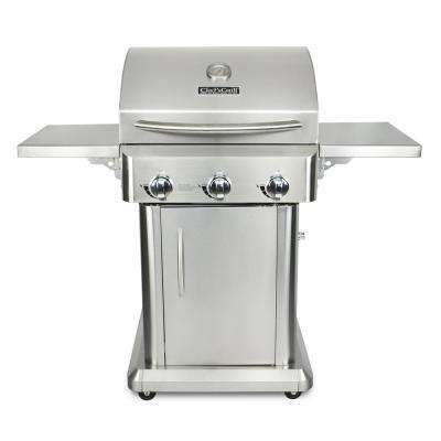 3-Burner Propane Gas Grill in Stainless Steel with Folding Side Shelves