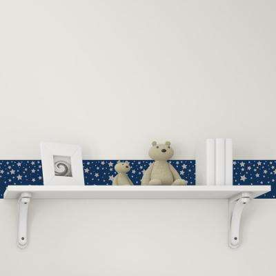 Kids Falling Stars Navy and Metallic Silver Self-Adhesive Removable Borders and Stripes