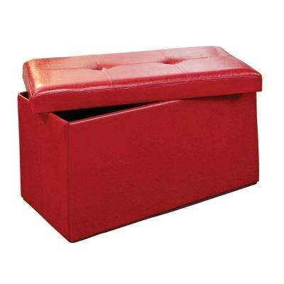 Double Folding Polyurethane Leather Ottoman in Red
