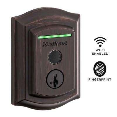 Halo Touch Venetian Bronze Traditional Fingerprint Wi-Fi Electronic Smart Lock Deadbolt Featuring SmartKey Security